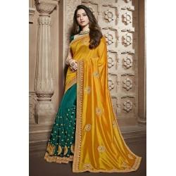 Embroidery yellow Vichitra Silk