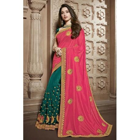 Embroidery pink Vichitra Silk