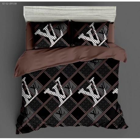 LV king size black printed bed sheets